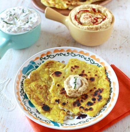 Naan Bread with Curry Butter, Yogurt Dip and Spicy Hummus
