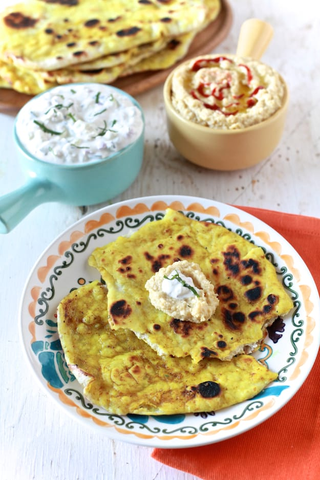 Post image for Naan Bread with Curry Butter, Yogurt Dip and Spicy Hummus