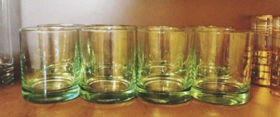 green-vintage-glassware