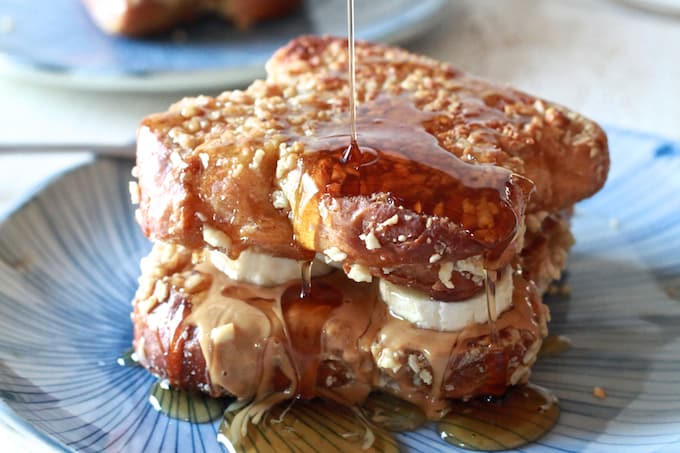 Peanut Butter, Honey & Banana Stuffed Almond Crusted French Toast