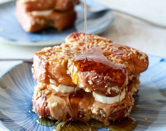 Peanut Butter, Banana & Honey Stuffed Almond Crusted French Toast