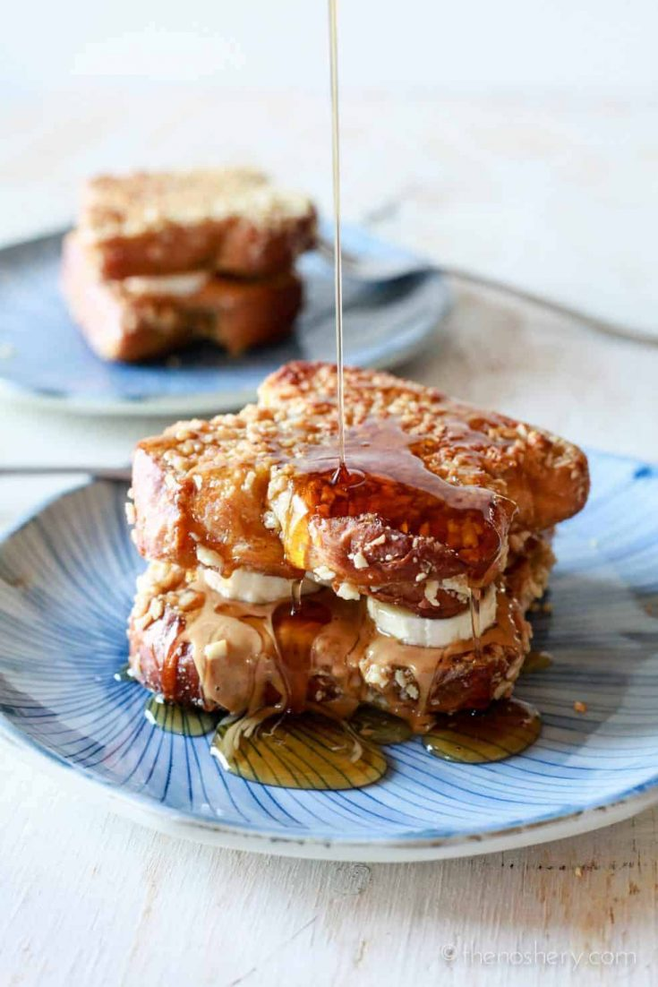 Peanut Butter, Honey & Banana Stuffed Almond Crusted French Toast | TheNoshery.com
