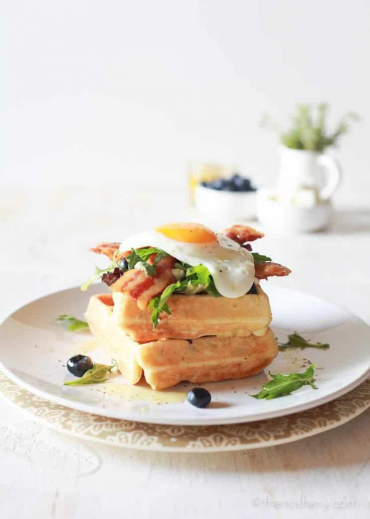 Mother's Day Herb and Goat Cheese Waffles