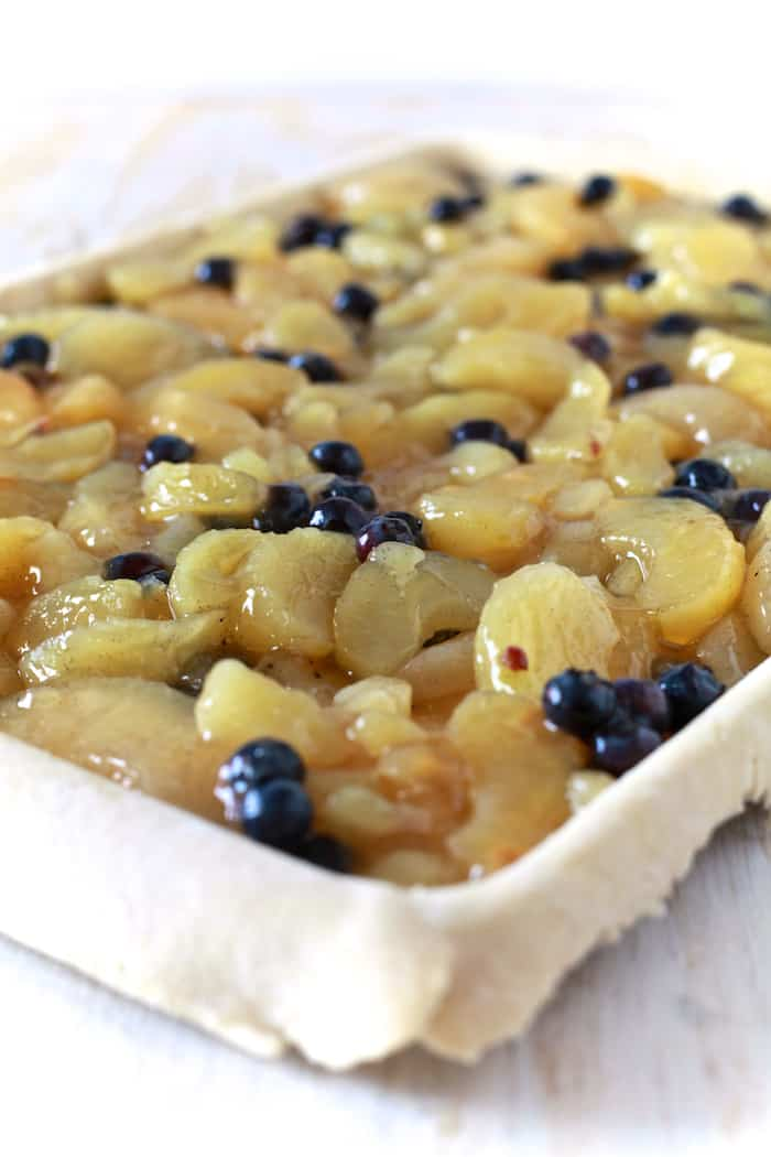Apple Blueberry Slab Pie with Ginger Crust - TheNoshery.com