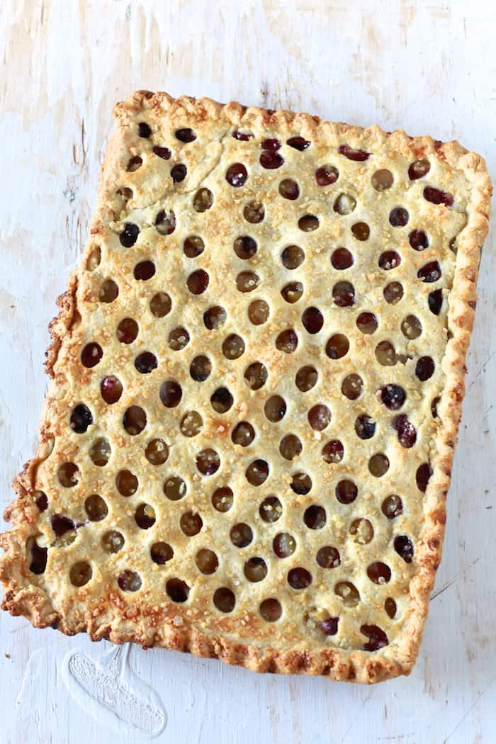 Apple Blueberry Slab Pie with Ginger Crust - TheNoshery.com