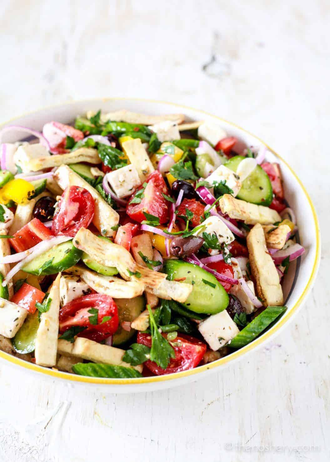 Greek Panzanella mediterranean panzanella salad - the noshery