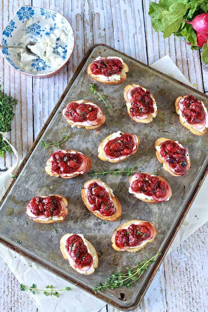 Strawberry Black Pepper Crostini with Burrata and Radishes - TheNoshery.com