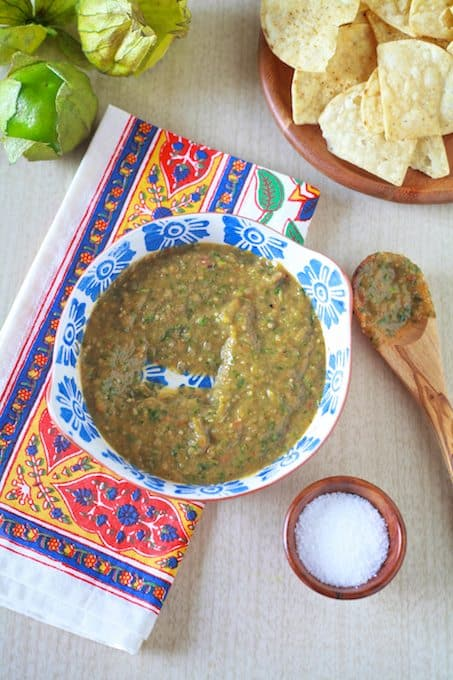 Roasted Tomatillo Salsa Verde - The Noshery