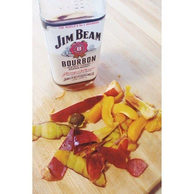 Breakfast this morning is brought to you by nectarines and @jimbeamofficial
