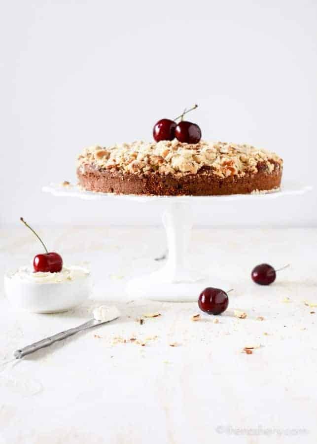 Cherry and Almond Buttermilk Coffee Cake - TheNoshery.com