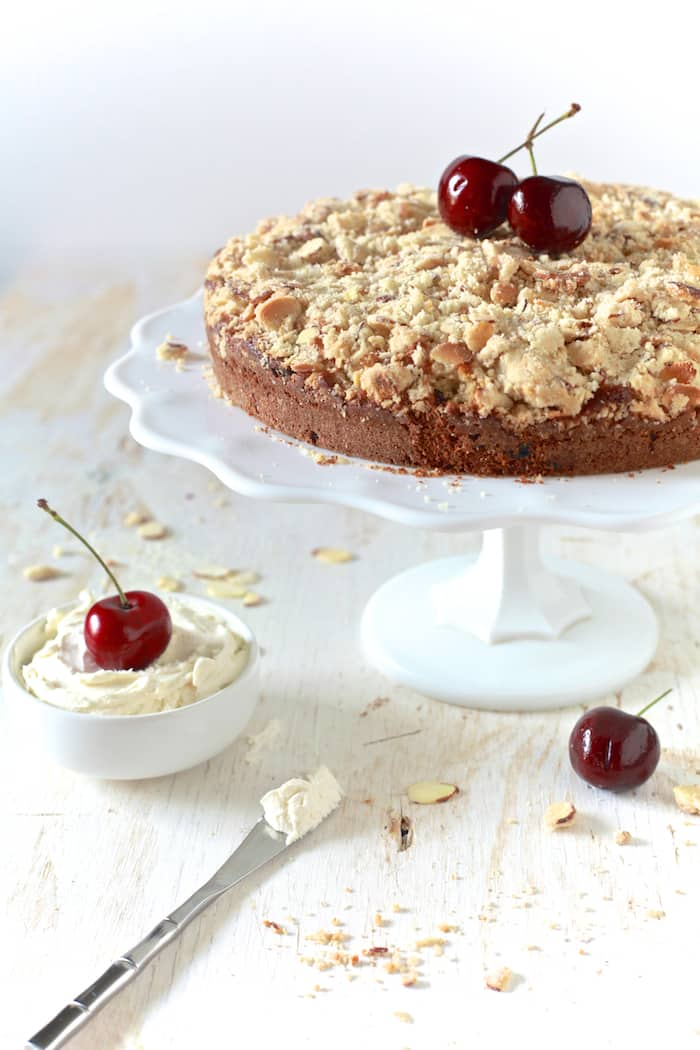 Cherry and Almond Buttermilk Coffee Cake - TheNoshery.com