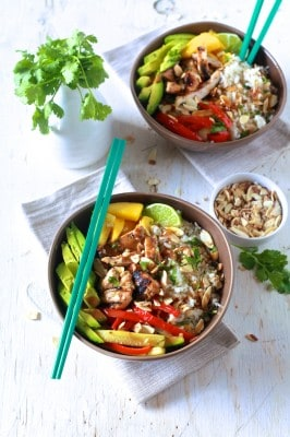 Asian Chicken & Coconut Rice Bowls - TheNoshery.com