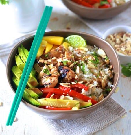 Asian Chicken & Coconut Rice Bowls - TheNoshery.com