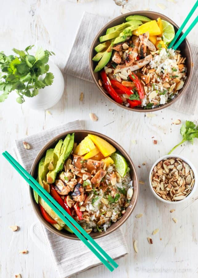 Asian Chicken and Toasted Coconut Rice Bowls - The Noshery