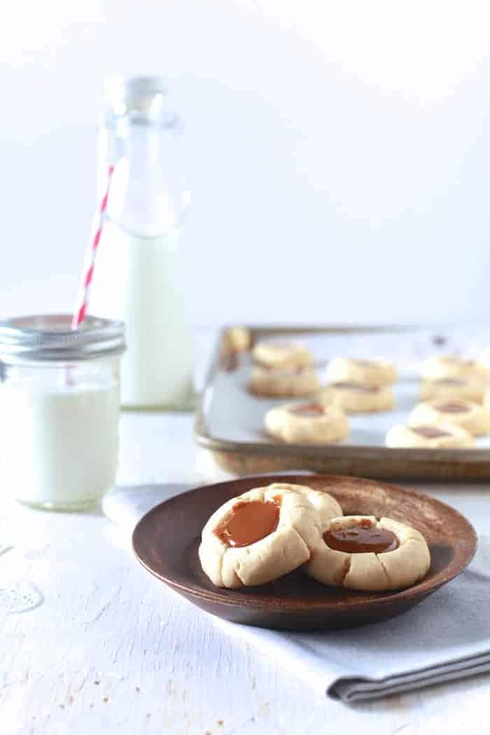 Dulce De Leche Thumbprint Cookies - TheNoshery.com