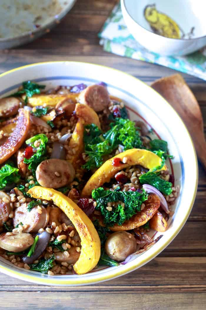 Farro with Acorn Squash, Kale and Sweet Apple Chicken Sausage