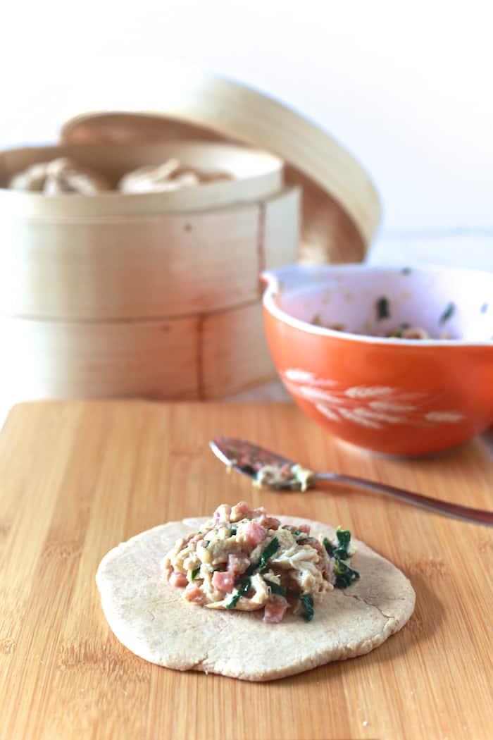 Chicken, Ham & Swiss Steamed Whole Wheat Buns - TheNoshery.com