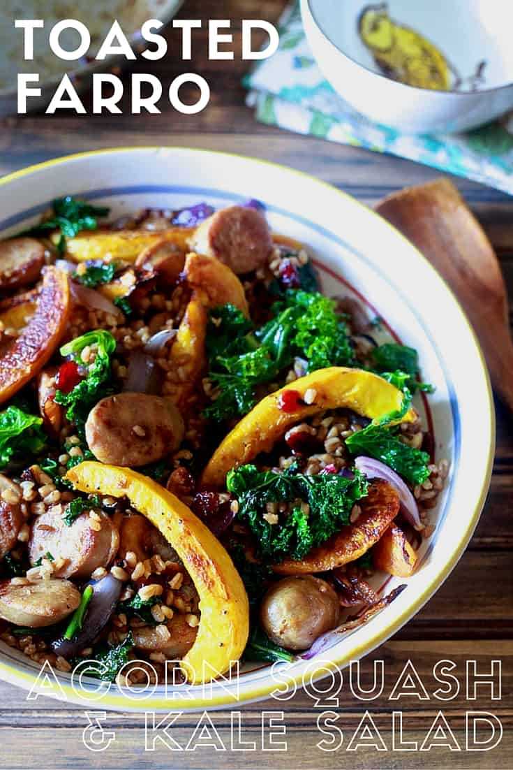 Farro with Acorn Squash, Kale and Sweet Apple Chicken Sausage - TheNoshery.com