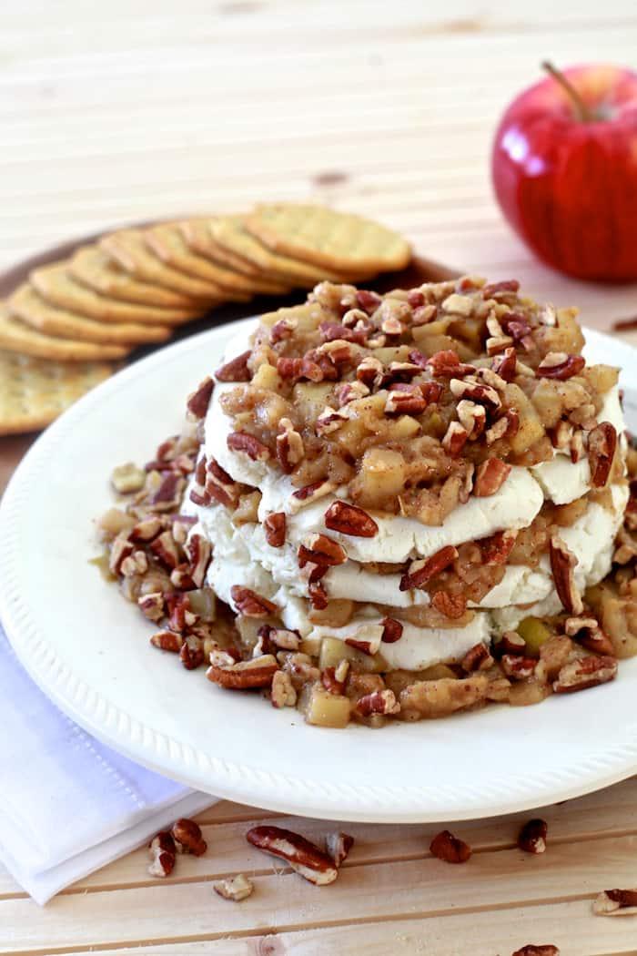Cinnamon Apple and Goat Cheese Stack | TheNoshery.com | @AldiUSA #appetizer #holiday #cheeseball