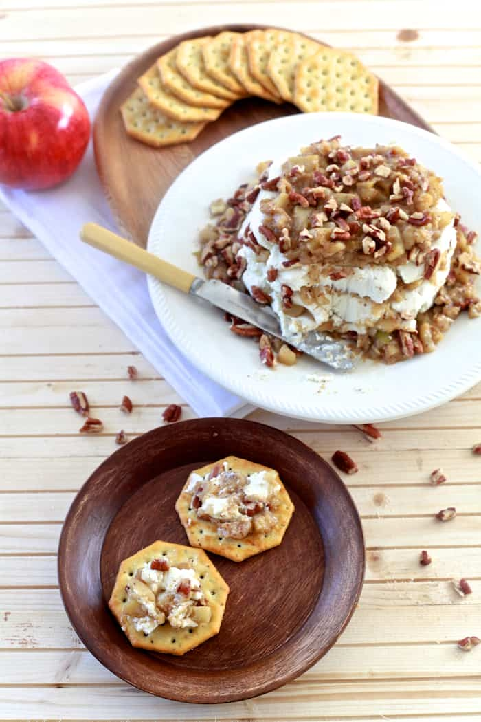 Cinnamon Apple and Goat Cheese Stack | TheNoshery.com | @AldiUSA #appetizer #holiday #cheeseball