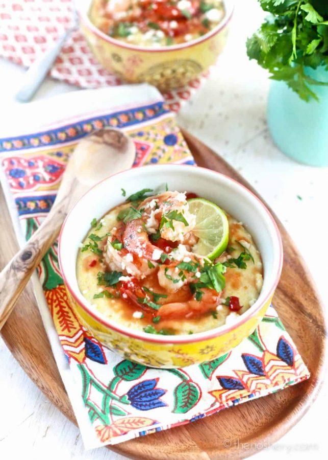 Spicy Guava Glazed Shrimp and Coconut Milk Grits | TheNoshery.com