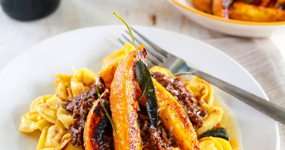 Beef Ragout with Roasted Acorn Squash and Brown Butter Tortellini | TheNoshery.com