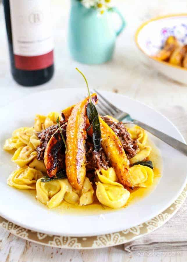 Beef Ragù with Roasted Acorn Squash and Brown Butter Tortellini | TheNoshery.com