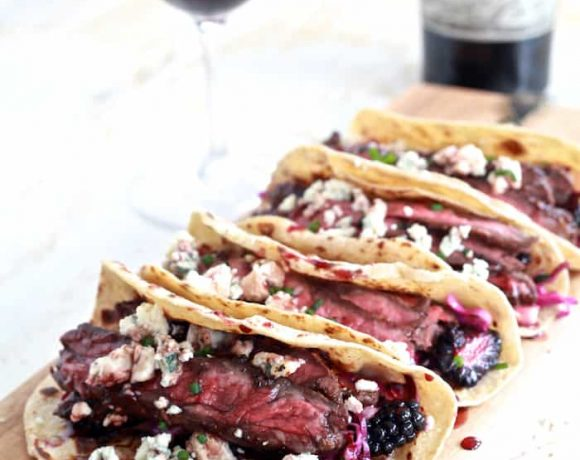 Fall Spiced Skirt Steak Tacos with Blackberry and Pear Slaw