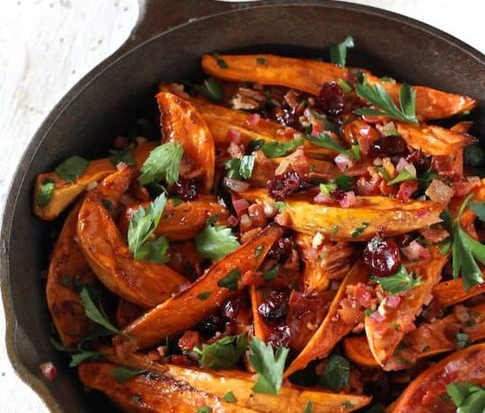 Roasted Sweet Potato Salad With Warm Bacon Apple Cider Dressing