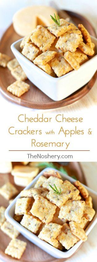 Cheddar Cheese Crackers w/ Apples & Rosemary | TheNoshery.com - @TheNoshery