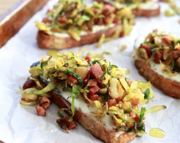 Shaved Brussels Sprouts, Pancetta, and Ricotta Toast