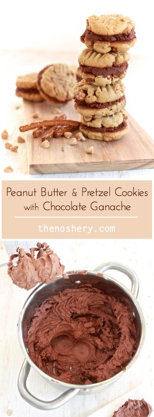 Peanut Butter & Pretzel Cookies with Chocolate Ganache | Peanut butter sandwich cookies with pretzel pieces and chocolate ganache. | TheNoshery.com - @thenoshery