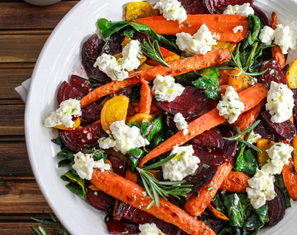 Roasted Beets and Carrots Salad with Burrata
