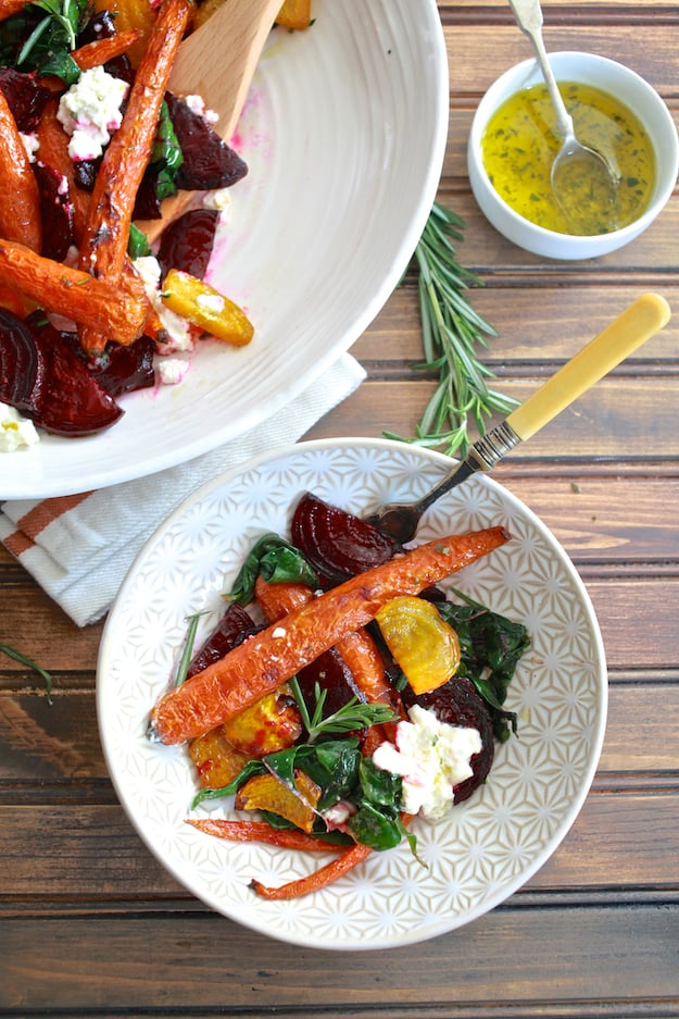 Roasted Beets & Carrots Salad with Burrata | Roasted beets and carrots with sautéed beet greens tossed with honey rosemary vinaigrette and topped with buratta. | TheNoshery.com - @thenoshery