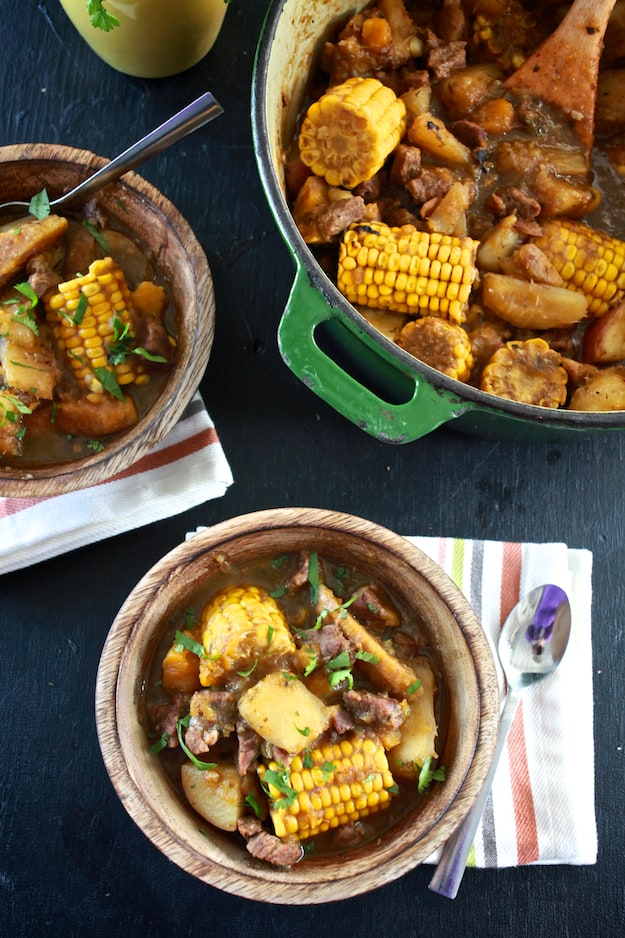 Sancocho (Puerto Rican Beef Stew) | A hearty beef stew filled with starch vegetables like yucca and plantains. | TheNoshery.com - @TheNoshery