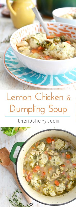 Lemon Chicken and Dumpling Soup | Light lemony broth with tender chicken and herb dumplings. | TheNoshery.com - @thenoshery