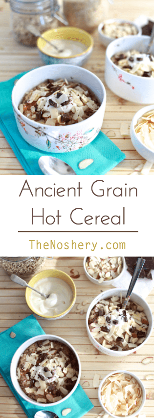 Spiced Ancient Grain Cereal | A hearty hot breakfast cereal made quinoa and steel cut oats. Spiced with cardamon and ginger and topped with dark chocolate, almonds and dates. |TheNoshery.com - @TheNoshery