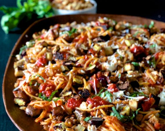 Eggplant Parmesan Pasta { Gluten Free }