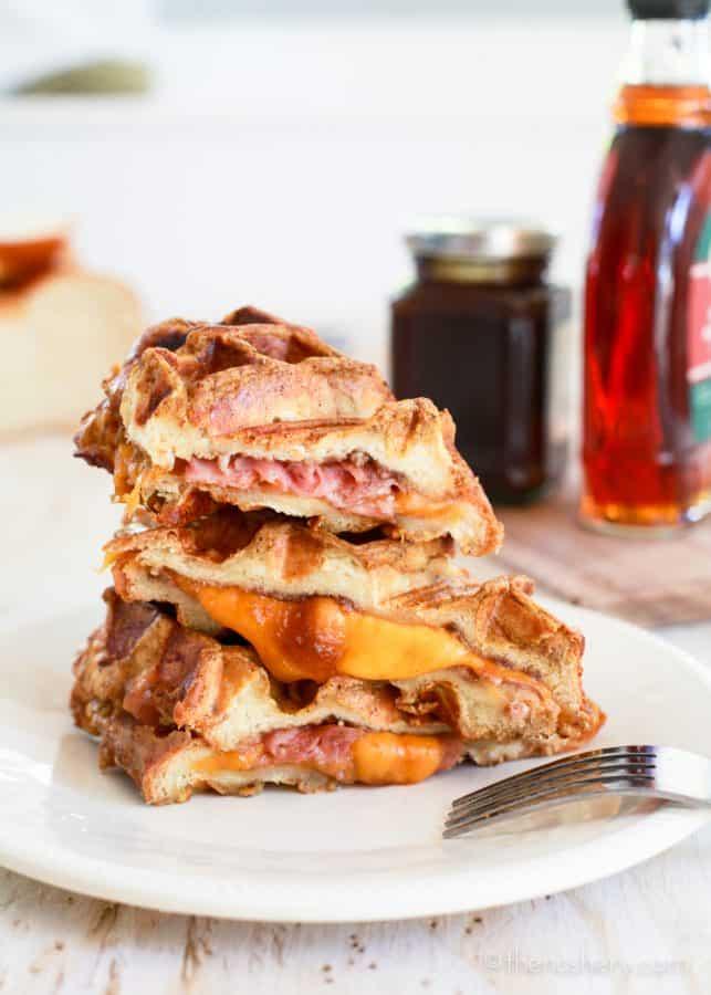 Ham + Cheese Stuffed Pumpkin Spice French Toast Waffles ...