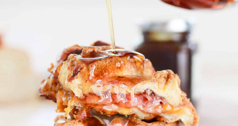 Ham + Cheese Stuffed Pumpkin Spice French Toast Waffles