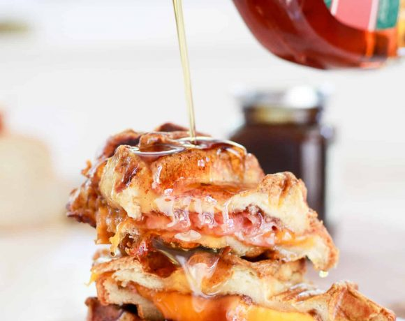 Ham + Cheese Stuffed Pumpkin Spice French Toast Waffles
