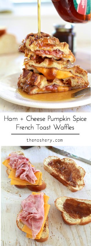 Ham + Cheese Stuffed Pumpkin Spice French Toast Waffles | TheNoshery.com - @TheNoshery