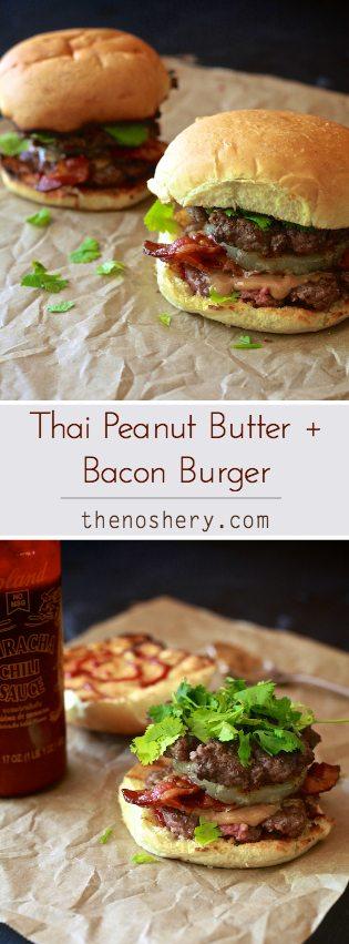 Thai Peanut Butter Bacon Burger   TheNoshery.com - @thenoshery