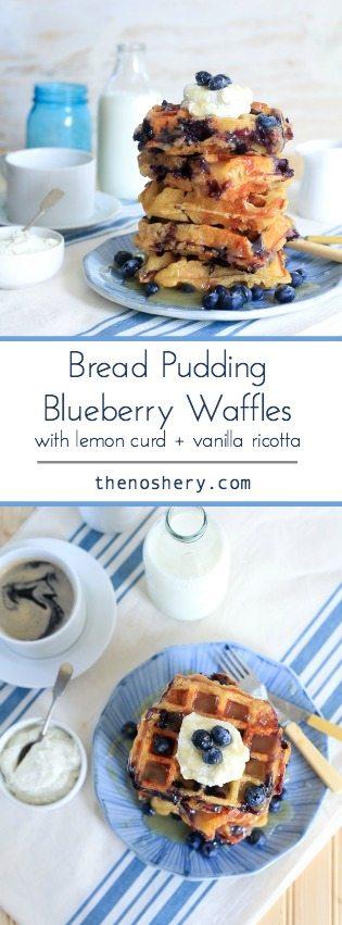 Bread Pudding Blueberry Waffles with Lemon Curd and Vanilla Bean Ricotta | TheNoshery.com - @TheNoshery