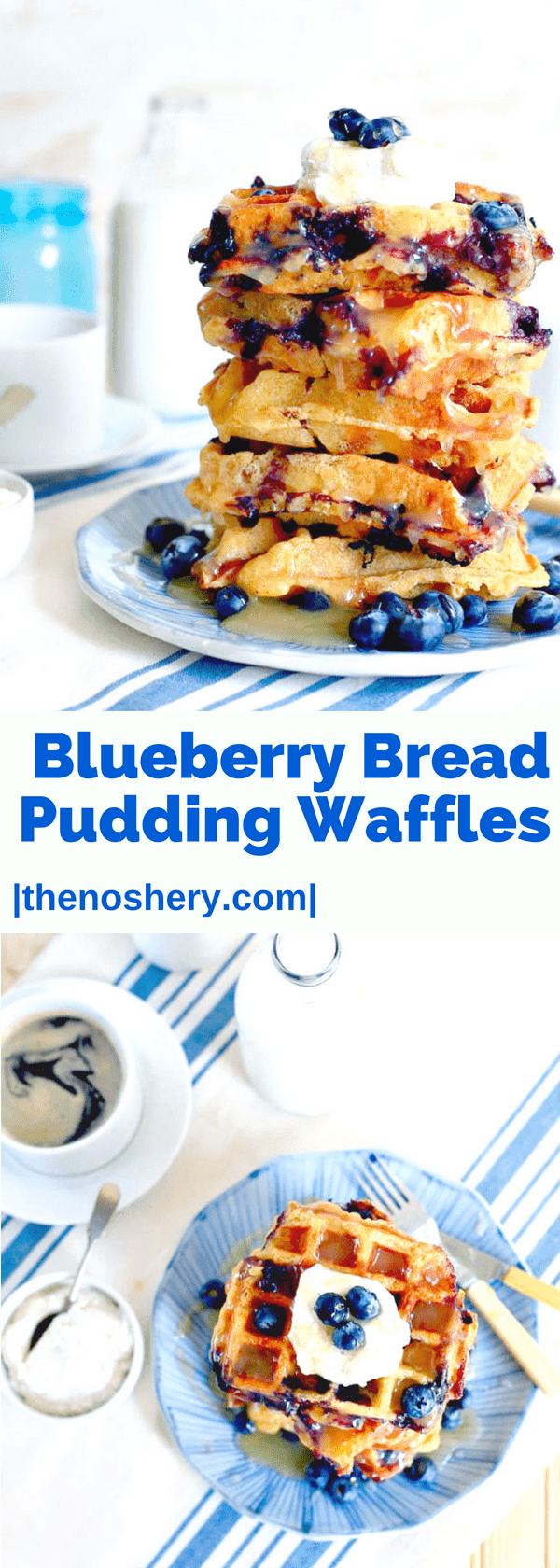 Bread Pudding Blueberry Waffles with Lemon Curd and Vanilla Bean Ricotta | TheNoshery.com - @TheNoshery