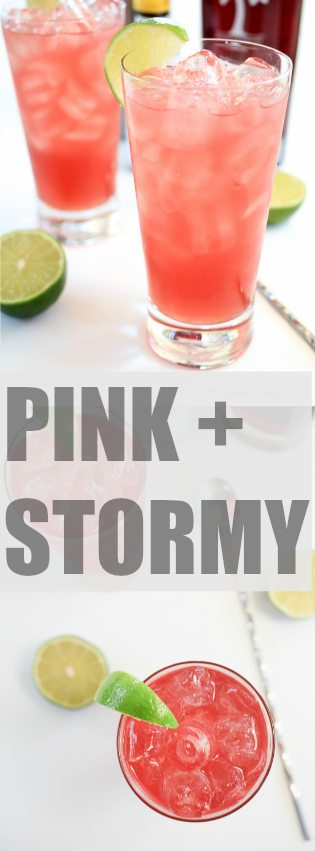 Pink & Stormy | A play on the traditional Dark & Stromy with some PAMA Liqueur | TheNoshery.com - @TheNoshery | #sponsored #PAMACelebrateSummer
