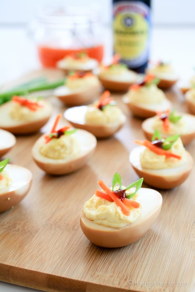 Soy Deviled Eggs - I promise you can't eat just one! | TheNoshery.com - @TheNoshery | #KikkomanSabor #ad #sponsored