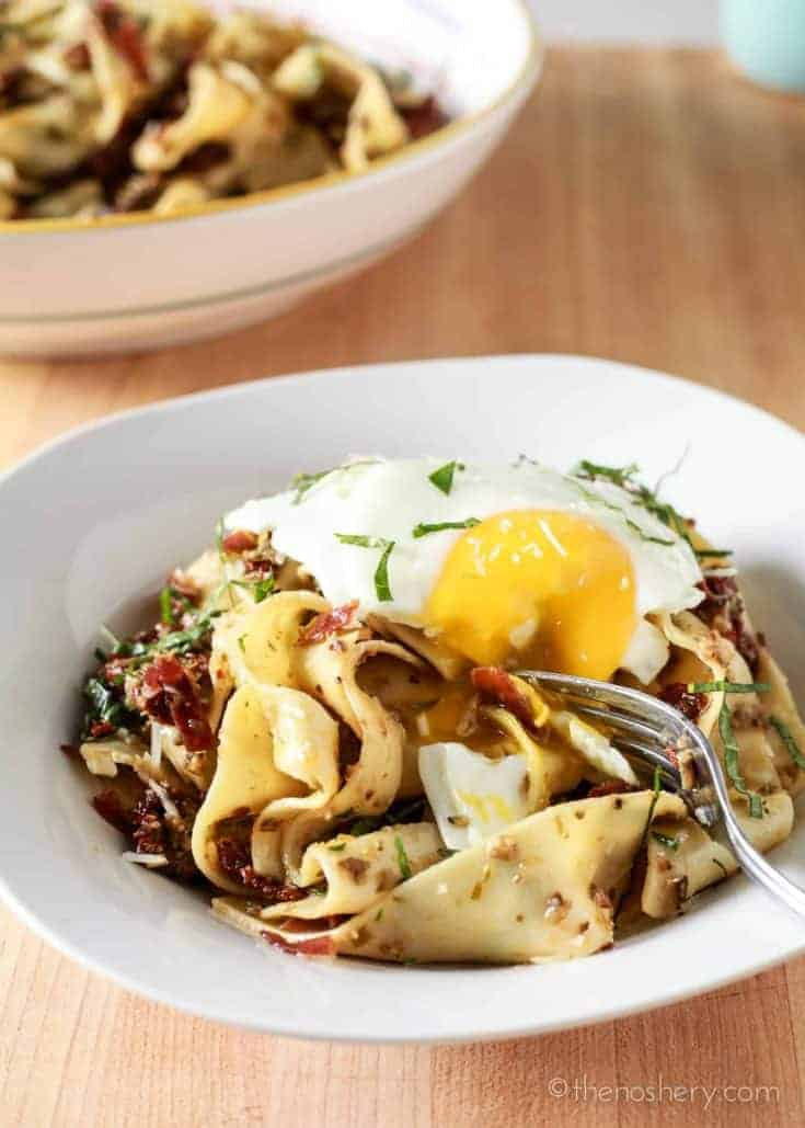 Pappardelle Pasta with Olive Tapenade Sundried Tomatoes & Prosciutto