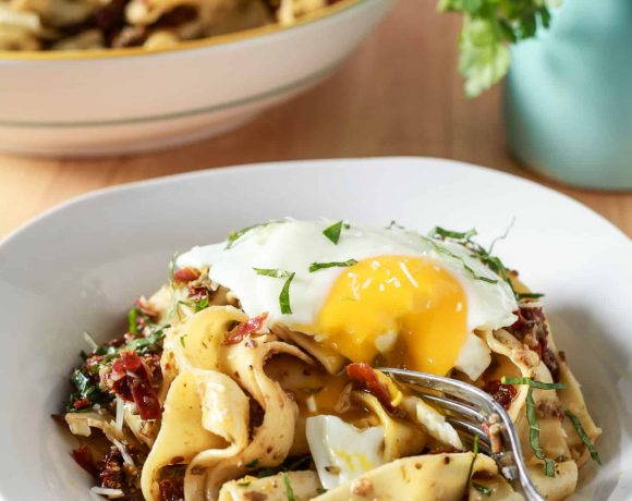 Pappardelle with Olives Sundried Tomatoes & Prosciutto