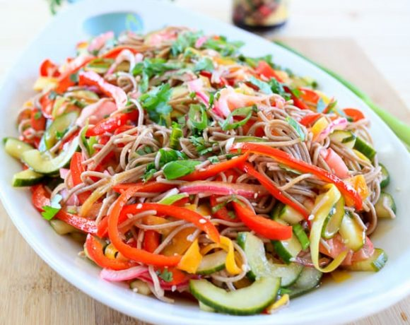 Soba Noodle Salad with Teriyaki Dressing